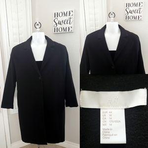 Women H&M Winter Coat Knee Length Black Trenchcoat